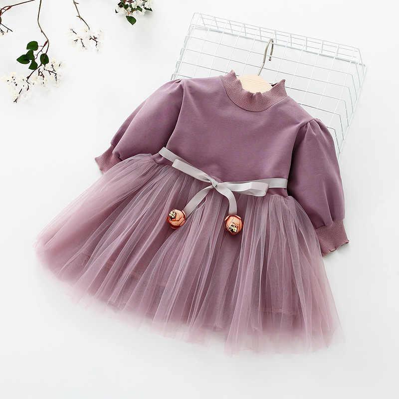 女の子共同ふくらんメッシュドレス 1-2-3 歳のベビー長袖ドレス純粋な綿プリンセスドレス春服