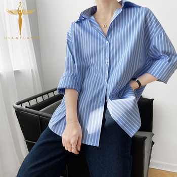 цена на Casual Striped Long Sleeve Blouse Women's Irregular Tops Korean Clothing Loose Button Cardigan Shirts Office Lady Blouse Tee