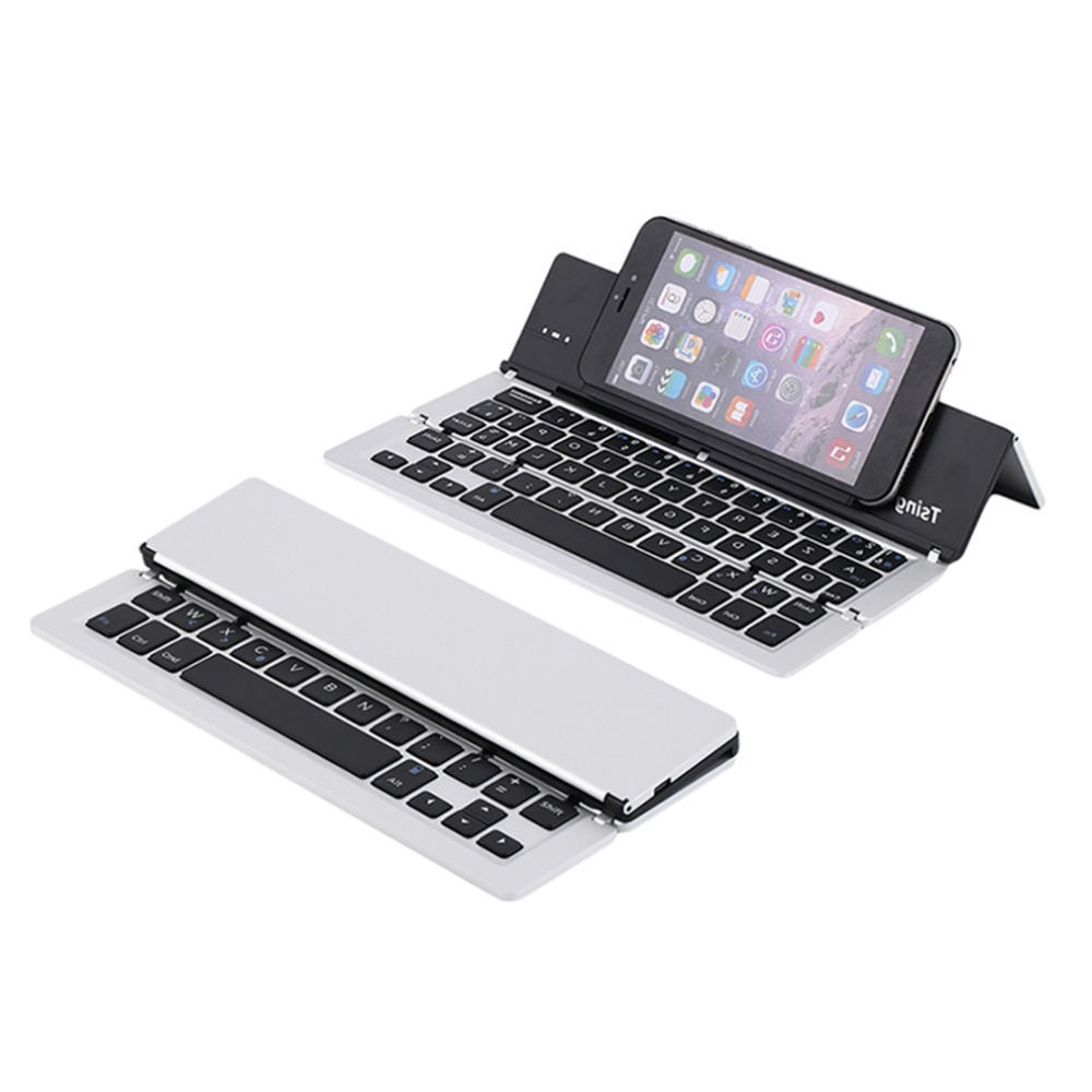 F18 Ultrathin Wireless Bluetooth 3.0 Keyboard Aluminium Alloy Foldable Keyboard Stand For Smartphone Bluetooth Keyboard