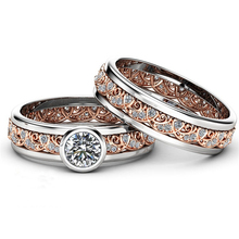 2Pcs / Set Exquisite Rose Gold Two Tone Alloy Ring Anniversary Proposal Crystal Jewelry Women Engagement Wedding Band Ring Set fdlk luxury alloy two tone rose gold color ring anniversary gift crystal jewelry vine flower bride engagement ring set