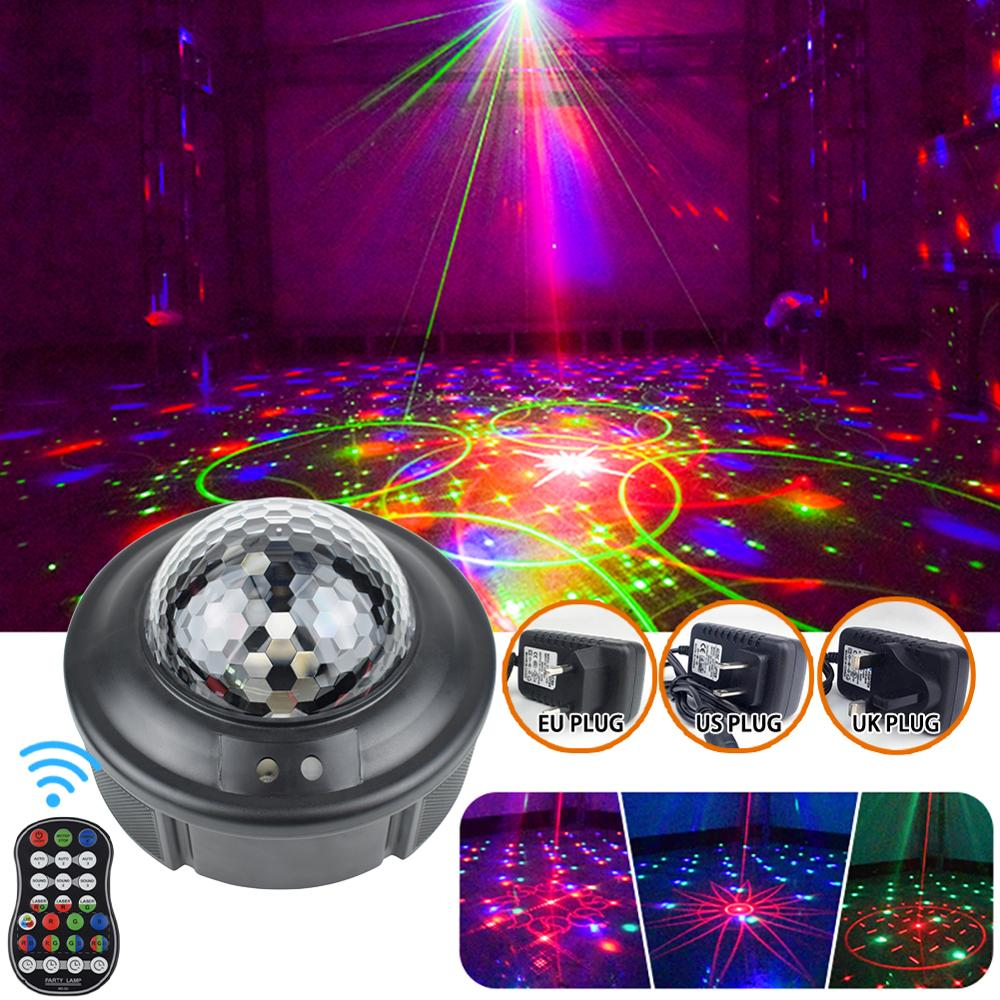 Sound Activated Rotating Disco Ball Party Lights Strobe Light 5W RGB LED Stage Lights For Christmas Home KTV Xmas Wedding Show