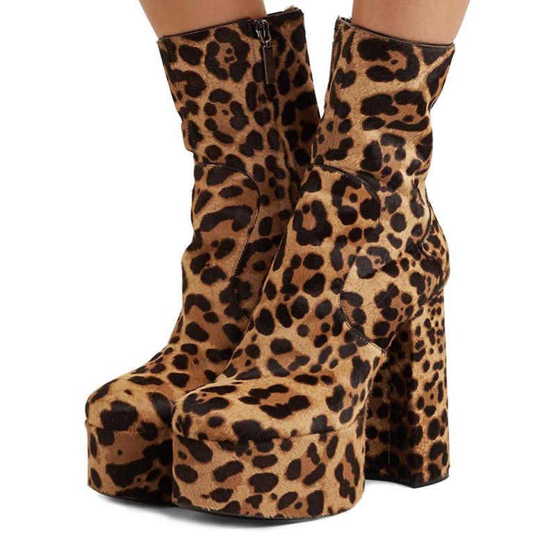 Ayakkabı fermuar kadın platformu tıknaz sıkı yarım çizmeler leopar akın yuvarlak ayak 13cm kare topuk büyük boy 44 45 46 sonbahar kış
