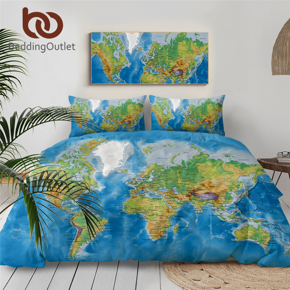 BeddingOutlet World Map Bedding Set Vivid Printed Blue Bed Duvet Cover With Pillow Covers Soft Cozy Home Textiles Queen Size 3pc