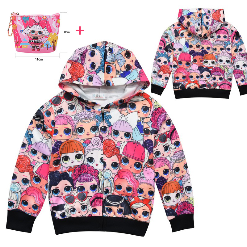 Surprise Doll Children's Hooded LOl Jacket 2019 New Cute Girl Girls Zipper Sweater Coat
