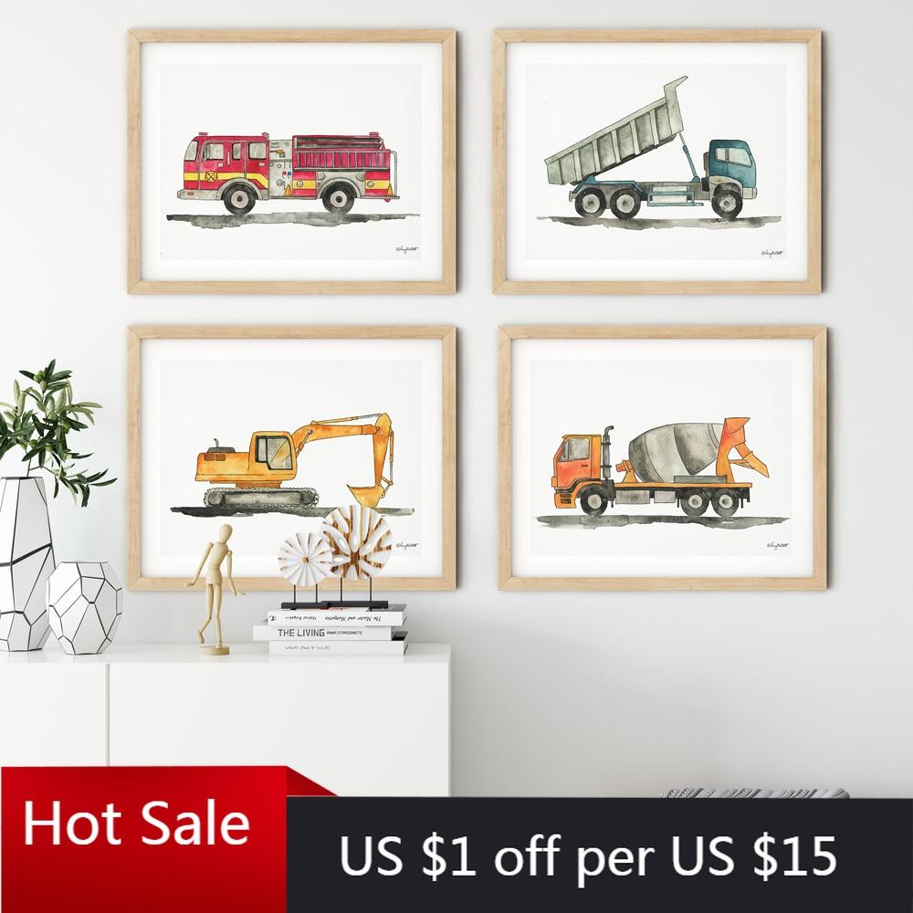 Inşaat aracı erkek duvar sanatı tuval yağlıboya resimleri DAMPERLİ KAMYON ekskavatör posterler ve baskılar çocuk bebek odası dekorasyon
