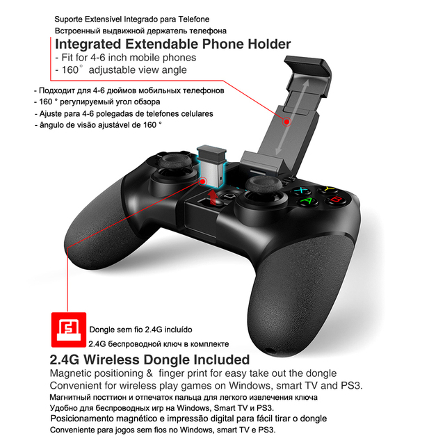 Bluetooth Gamepad Controller Joystick For Android Cell Smart Phone TV Box