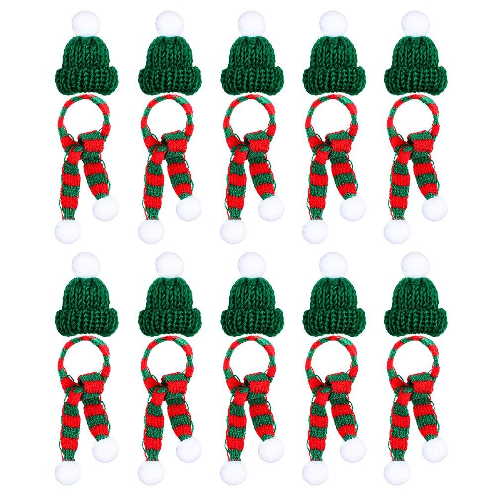 20 stücke Stilvolle Weihnachten Mini Schal und Hut Decor Puppe Kleidung Zubehör Kreative Pflanzen Schmuck für Festival Weihnachten Party