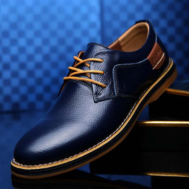 ARIARI Men Oxford Genuine Leather Dress Shoes Brogue Lace Up Flats Men Casual Moccasins Fashion Office Walking Footwear