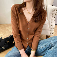 New V-Neck Long Sleeve Sweater Button Cardigan for Women Knitted Top Fashion Cardigan for Women Autumn Winter Top