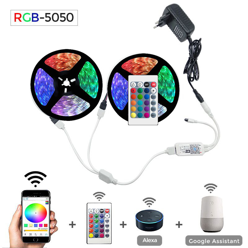 5m 10m 15m WiFi LED Strip Light RGB Waterproof SMD 5050 2835 DC12V rgb String Diode Flexible Ribbon WiFi Contoller+Adapter plug 1