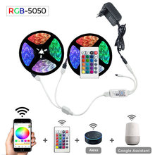 5 M 10 M 15 M Wifi LED Lampu Strip RGB Tahan Air SMD 5050 2835 DC12V RGB String Diode Fleksibel pita Wifi Contoller Video + Adaptor Plug(China)