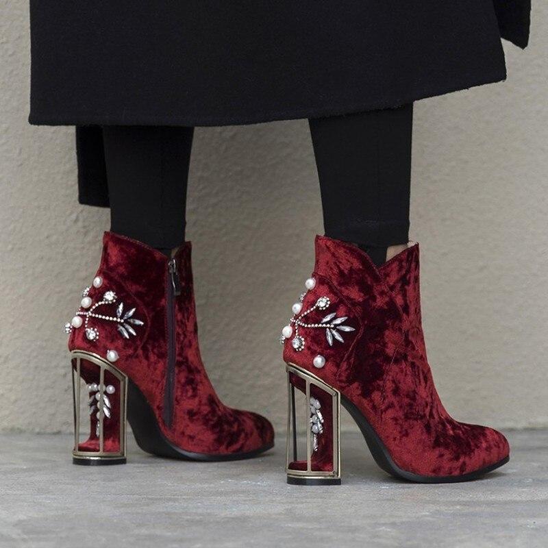 US4 11 Womens Fluwelen Leer Ronde Neus Bloemen Vogelkooi Hakken Rhinestones Crystal Parels Ankel Laarzen Schoenen 3 Kleuren Plus Size