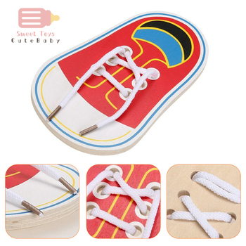 1 Pcs Random Kids Montessori Educational Toys Children Wooden Toddler Lacing Shoes Early Education Teaching Aids