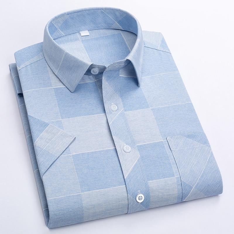 Summer Shirt Men Short Sleeve Turn-Down Collar Regular Fit Pocket Button Fashion Plaid Print Color 50% Cotton Casual Shirts