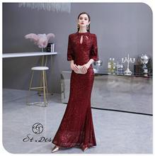 С. Т. де вечернее платье к 2020 году новые прибытия вино бисер Русалка круглый шеи длинным рукавом этаж длина платья партии ужин