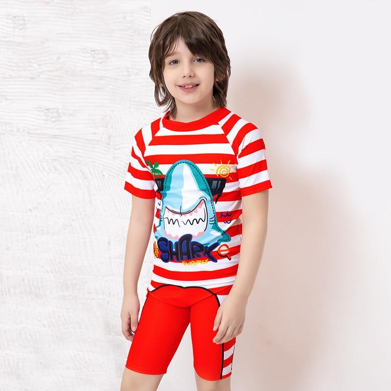 BOY'S Clothes With Short Sleeves Swimsuit Set Big Boy Sun-resistant Baby Boy Students Shorts South Korea Split Type CHILDREN'S S