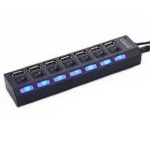 7 Порты USB 2,0 адаптер высокое Скорость многоинтерфейсный концентратор Мощность на включения/выключения независимый переключатель индикато...