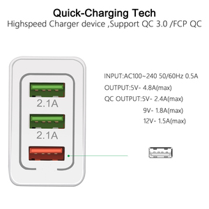 Image 3 - 5V 3A USB Charger Quick Charge 3.0 QC 3.0 Fast Charging Adapter 3 USB Mobile Phone Charger For iphone XR XS Max X 7 8 Chargers