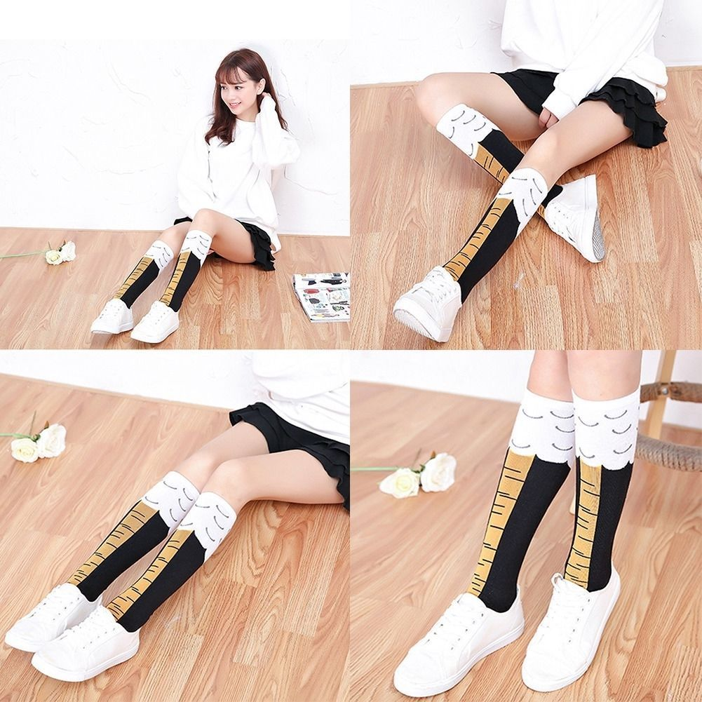 SHUJIN Spring 3D Funny Women's Chicken Socks Thigh High Sock Cartoon Ainimals Cute Funny Thin Toe Feet Ladies