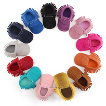 1 Pair Soft Sole Infant Toddler Shoe Cute Cotton Non-slip Fringed Baby Crib Shoe Pure Color Newborn Baby Shoes First Walkers