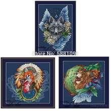 Fox wolf lion dream catcher patterns counted cross stitch 11ct