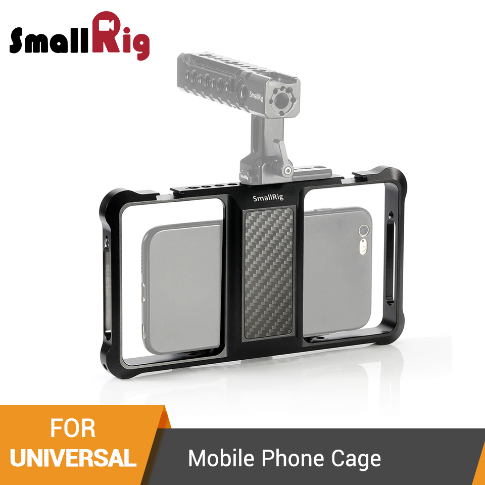 SmallRig Standard Universal Mobile Phone Cage Vloggers Video Shooting Phone Cage Accessories With Cold Shoe Mount -2391