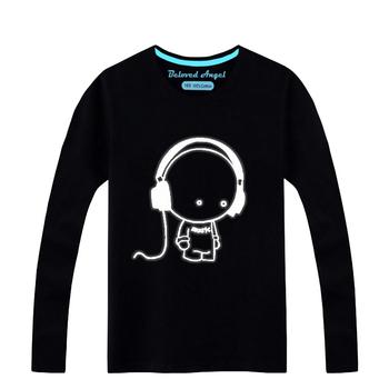 T-shirty dziecięce dla dziewczynek ubrania Luminous t-shirty z długim rękawem koszule chłopięce t-shirty dla dzieci tshirt odzież Baby Boy Girl topy tanie i dobre opinie Beloved Angel COTTON Nowość Tees Pasuje prawda na wymiar weź swój normalny rozmiar CTBZ056 Unisex O-neck Pełna Cartoon