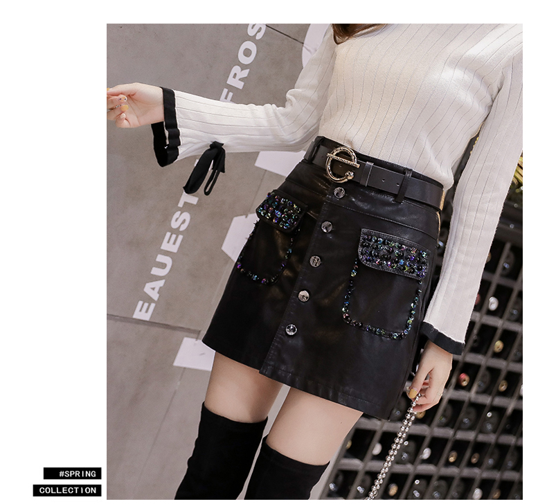 2019 new PU leather skirt ladies autumn and winter wild skirt thin high waist sequined diamond bag hip skirt thumbnail