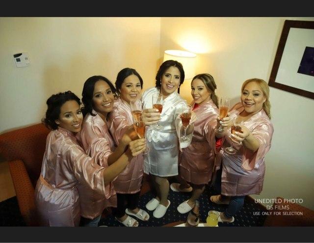 C & Fung ciemnoróżowy szlafrok srebrny list kimono satynowa piżama suknia ślubna druhna siostra matka panny młodej szaty