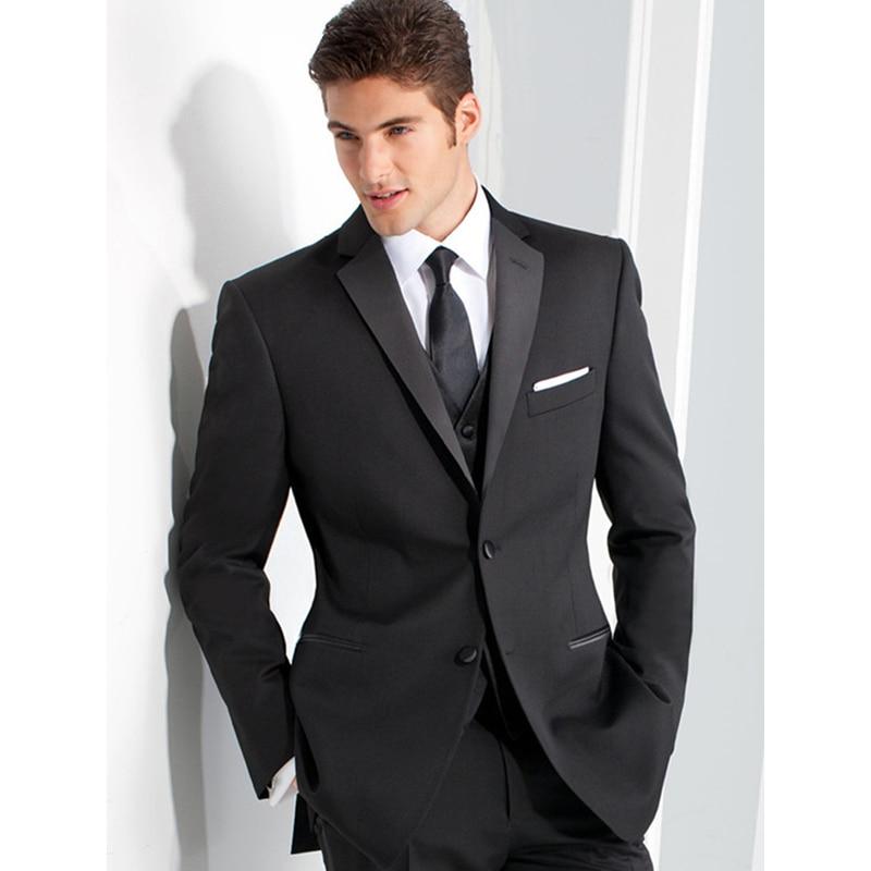 NEW Handsome Classic Groom Men Suit Custom Made Black Wedding Suits For Men Three Piece Mens Suits Slim Fit Groomsmen Suit