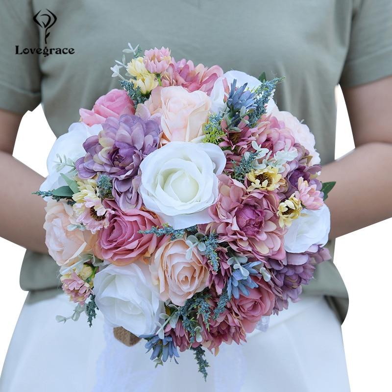 Lovegrace Bride Bouquet Wedding Rose Flower Pink Blue Bohemian Romantic Flower Bouquet Artificial Silk Dahlia Wedding Bouquets