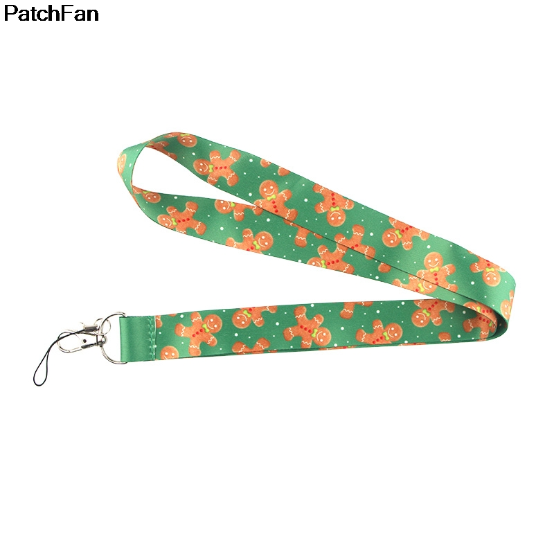 <font><b>A2505</b></font> Patchfan cartoon cute Christmas bear biscuit Key Lanyard for keys ID Phone USB Badge Holders Phone Neck Straps webbings image
