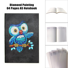 Animal Owl 5D DIY Diamond Painting Dairy Book Notebook Special Shaped Shiny Beads Craft Gift School Supplies Drop Ship(China)