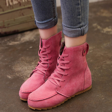 Autumn 2020 New Winter Women Boots Short Martin Boots Flock Flat Platform Casual Shoes Woman Fashion Lace-up Non-slip Plus Size women martin boots black ankle short boots lace up flat boots woman