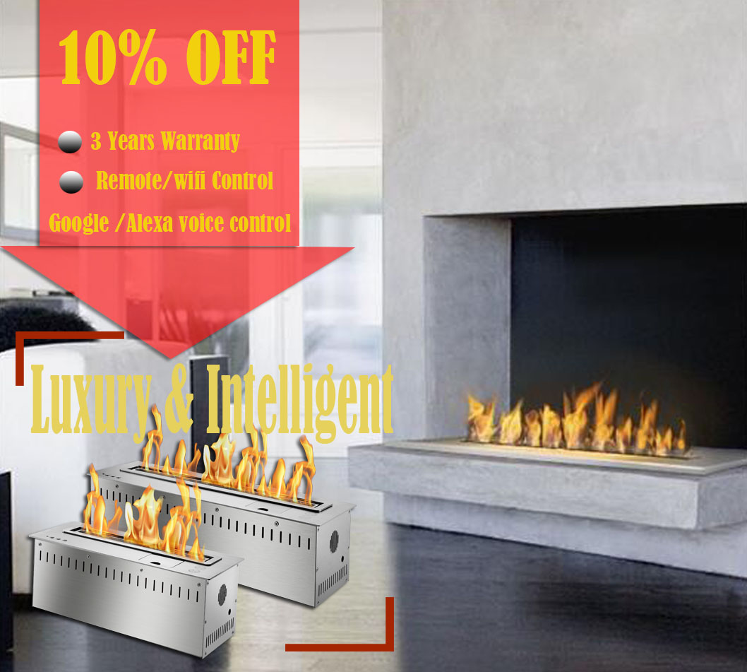 Inno Living Fire 48 Inch Modern Fireplace Ethanol Ventless Remote Burner Insert