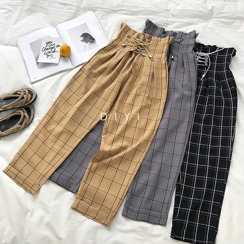 LMCAVASUN Fashion Lace Up Vintage Plaid High Waist Loose Ankle Length Pants Women 2019 New Japanese Harajuku Casual Harem Pants