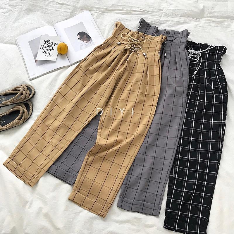 LMCAVASUN Fashion Lace Up Vintage Plaid High Waist Loose Ankle Length Pants Women 2019 New Japanese Harajuku Casual Harem Pants