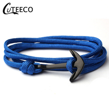 CUTEECO Anchor Bracelet Fashion Black Mens Charm Survival Rope Chain Hight Quality 550 umbrella rope Men Jewelry