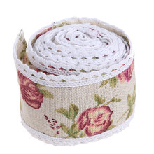 1m/roll Beautiful Flower Hessian Burlap Lace Wedding Decor Cake Runners Birthday Christmas Decoration(China)
