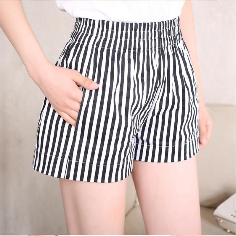 Shorts Feminino Summer Black White Thin Stripe Elastic High Waist Loose Bermuda Plus Size 4XL 3XL S With Pocket