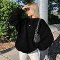 Зимняя уличная женская одежда плюс длинные рукава негабаритных балахон с вышивкой м пуловеры Топы больших размеров в стиле Харадзюку Толст...