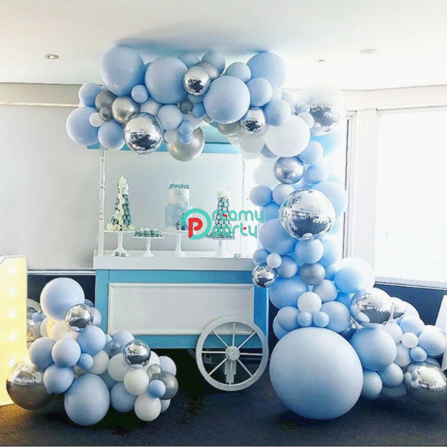 192pcs 4D Round Balloon Garland Arch Mixed Blue White Silver Latex  Balloons Strip Chain for Birthday Wedding Decoration