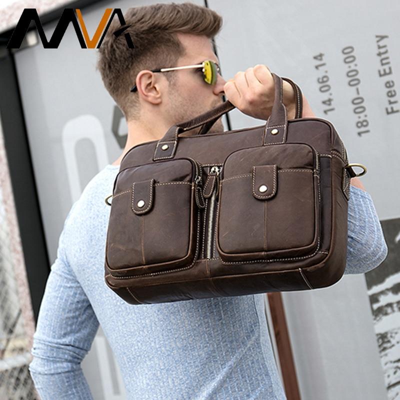 MVA Cowhide Leather Men's Briefcase Men Messenger Bag Laptop Bag Men's Genuine Leather Male Office Bag Shoulder Bag For Men8539