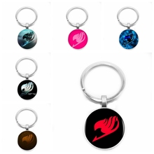 2019 New Styles Fairy Tail Logo Glass Cabochon Keychain Car Key Ring Jewelry Pendant Pendant Gift
