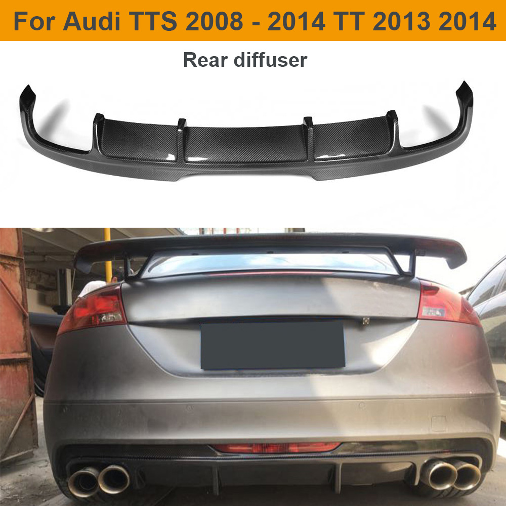 Carbon Fiber Car Rear Bumper Diffuser Lip Spoiler for Audi TTS Bumper 2008 - 2014 TT 2013 2014 Auto Car Spoiler Sticker