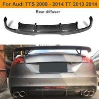 Carbon Fiber Car Rear Bumper Diffuser Lip Spoiler for Audi TTS Bumper 2008 2014 TT 2013 2014 Auto Car Spoiler Sticker