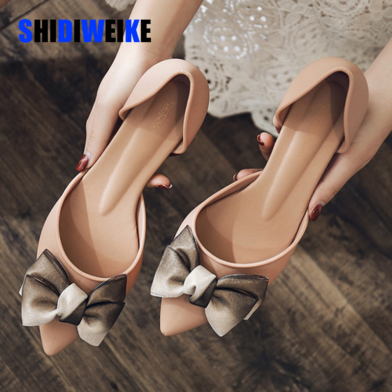 Spring Women Shoes Bowtie Two Piece Slip On Pumps Ladies Pointed Toe Shallow Jelly Shoes Mid Heel Comfortable Female Footwear