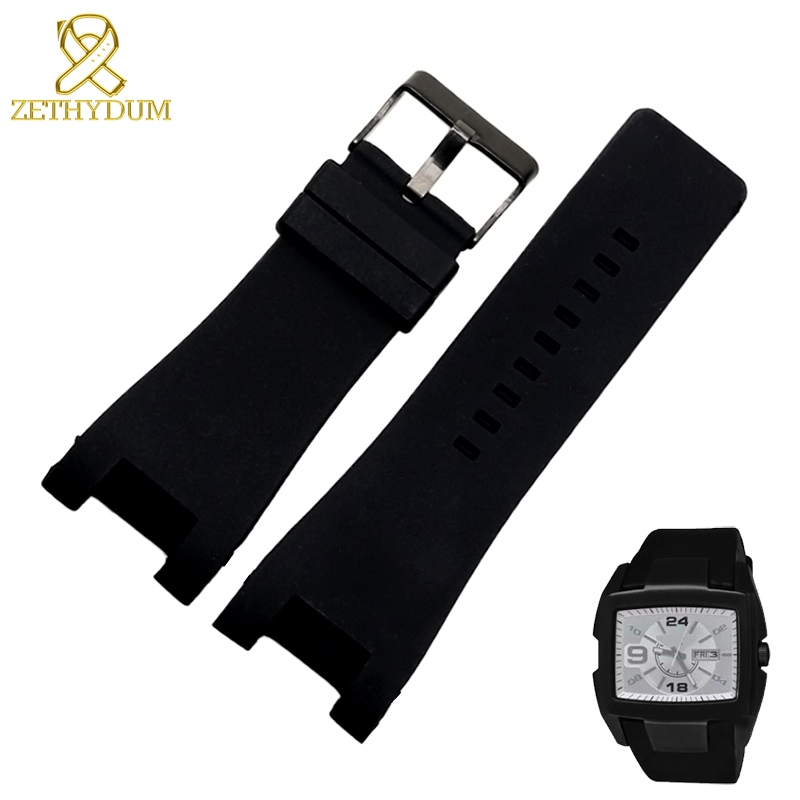 Silicone Rubber Bracelet 32mm Watchband For Diesel Watch Strap Wristwatches Band For DZ1216 DZ1273 DZ4246 DZ4247DZ287 Watch Band