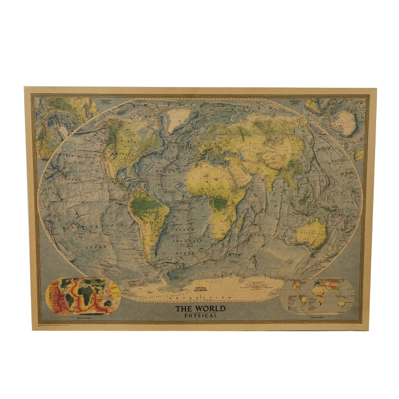 1pcs Wall Maps Of The World 72*51cm Student Stationery School Stylistic Album Decorative Wall Stickers Stylistic Student School