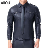 AIIOU Sexy Black Faux Leather Long Sleeve Shirt Wet Look Cool Undershirt Latex Shirt Male Uniform Clubwear Night Stage Costume